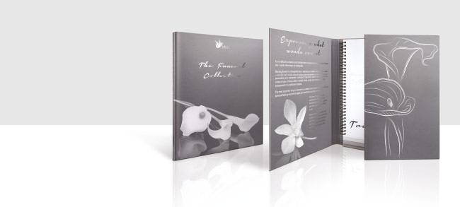 Premium print finishes on a presentation binder for eFlorist